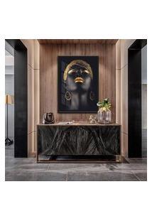 Quadro 90X60Cm Beltza Mulheres Negras Maquiagem Dourada Moldura Preta Com Vidro