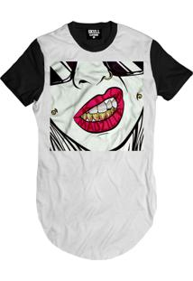 Camiseta Manga Curta Skull Clothing Girl Dente Ouro Branco