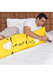 Capa Travesseiro Corporal Bordado 1,35M X 45Cm 100% Algodão Amarelo