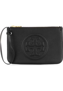 Tory Burch Embossed Logo Clutch - Preto