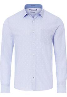 Camisa Masculina Casual Listrado Slim - Azul