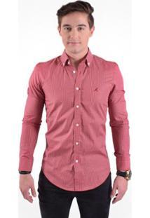 Camisa Social Masculina Slim Xadrez - Masculino-Vermelho