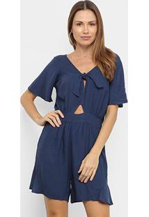 Macacão Mercatto Curto Com Amarração Liso Feminino - Feminino-Azul Escuro