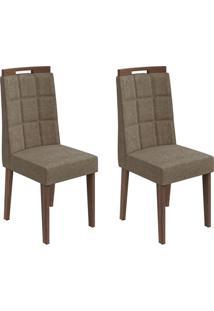 Conjunto De Cadeiras De Jantar 2 Nevada Veludo Imbuia E Marrom