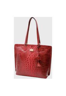 Bolsa Couro Mariart Shopping Bag 5200Mrt Vermelha