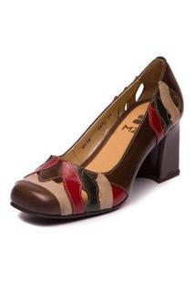 Sapato Sophia - 5930 Chocolate/Taupe/Folha/Amora Mzq Mzq