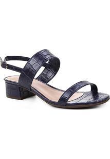 Sandália Shoestock Salto Baixo Bloco Croco Feminina - Feminino-Marinho