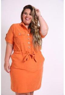 Vestido Kaue Plus Size Utilitário Feminino - Feminino-Laranja