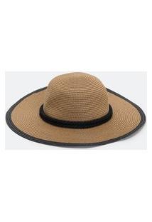 Chapéu De Palha Com Aba Larga E Faixa De Corda Trançada | Bossa Nossa | Marrom | U