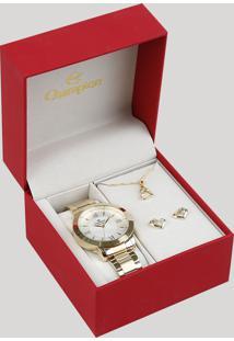 Kit De Relógio Analógico Champion Feminino + Brinco + Colar - Ch24697J Dourado - Único
