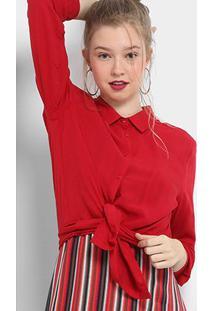 Camisa Drezzup Manga Longa Feminina - Feminino-Vermelho