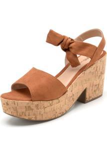 Sandália Dafiti Shoes Amarração Caramelo