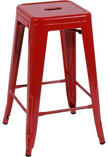 Banqueta Retrã´- Vermelha & Preta- 77X41,5X41Cm- Or Design
