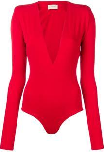 Alexandre Vauthier Body Com Decote Profundo - Vermelho