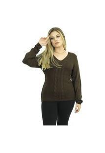 Blusa Tricot Feminina Lã Lavínia Shopping Do Tricô Inverno Gola V