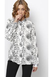 Camisa Floral- Branca & Preta- Intensintens