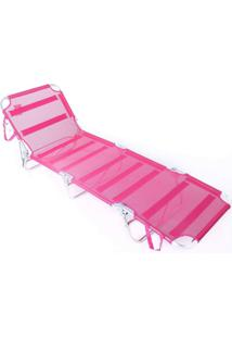 Cadeira Espreguiçadeira Textiline Aluminio Ad Rosa Belfix