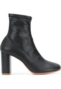 Mm6 Maison Margiela Ankle Boot De Couro - Preto