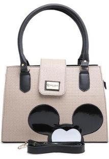 Bolsa Mickey Mouse Feminina Alça Transversal Forrada Moderna - Feminino-Preto+Bege