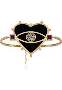 Bracelete Look Amarelo C/Diam Chocol,Qtzo Negro E Rodol
