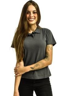 Camiseta Rich Young Pólo Básica Lisa Manga Curta Cinza - Kanui