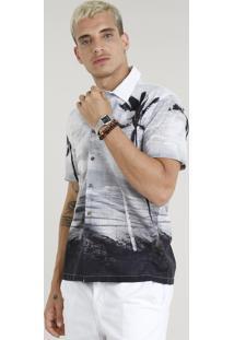 Camisa Masculina Estampada Praia Manga Curta Branca