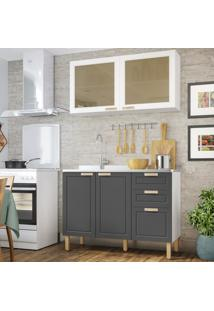 Cozinha Completa 2 Peã§As Americana Multimã³Veis 5925 Branco/Grafite - Branco/Incolor - Dafiti