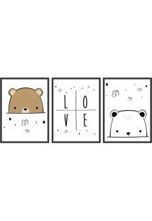 Quadro 60X120Cm Infantil Amor De Urso Moldura Preta Com Vidro Decorativo