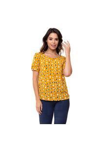 Blusa Kinara Crepe Poá Botões Forrados Amarelo