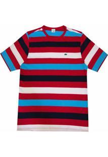 Camiseta Pau A Pique Listrada - Masculino-Vermelho