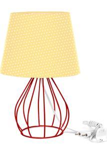 Abajur Cebola Dome Amarelo/Bolinha Com Aramado Vermelho