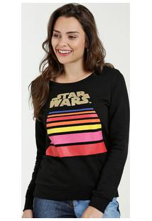 Blusão Feminino Moletom Listras Star Wars Disney