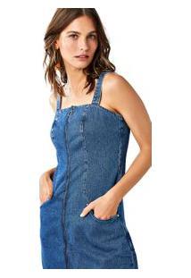 Vestido Jeans Curto Com Zíper E Alças Jeans