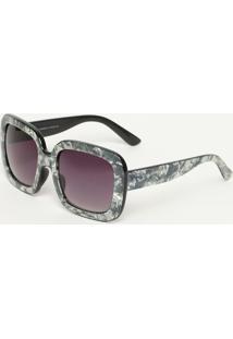 Óculos De Sol Quadrado- Cinza & Preto- Les Bains Parles Bains Paris