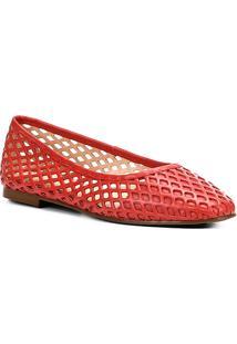 Sapatilha Couro Shoestock Bico Redondo Vazada Feminina - Feminino-Vermelho