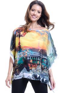 Blusa 101 Resort Wear Ponch Tunica Decote V Estampada Paris