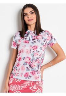 Blusa Floral Com Gola Laço Moda Evangélica