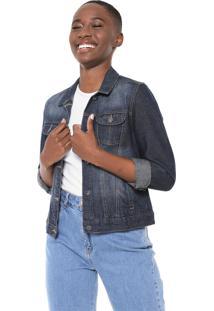 Jaqueta Jeans Mercatto Estonada Azul