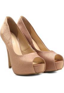 e287409d0d ... Peep Toe Shoestock Festa Meia Pata Embutida - Feminino-Nude