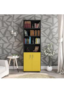 Estante Livreiro 6 Prateleiras Office Preto Com Portas Pequenas Amarelas Mã³Veis Leã£O - Multicolorido - Dafiti