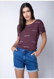 Camiseta Amarração Costas Lança Perfume Feminina - Feminino-Roxo