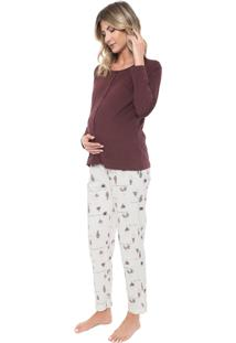 Pijama Pzama Gestante Estampado Bordô/Branco