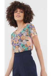Camiseta Bobstore Floral Laranja/Verde - Laranja - Feminino - Poliã©Ster - Dafiti