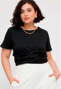 Blusa Cropped Plus Size Trançado Malha Preto