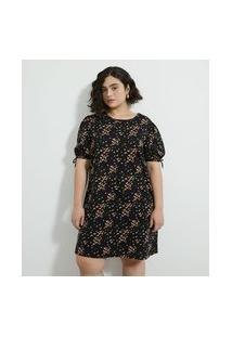 Vestido Curto Em Algodão Com Estampa De Borboletas Curve & Plus Size | Ashua Curve E Plus Size | Preto | Gg