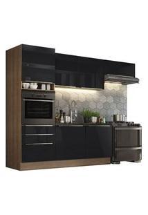 Cozinha Completa Madesa Lux Com Armário E Balcão 6 Portas 3 Gavetas Rustic/Preto Rustic