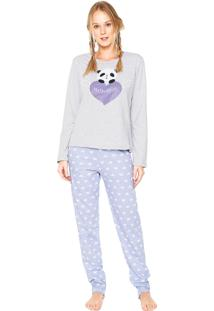 Pijama Mundo Do Sono Panda With Love Cinza