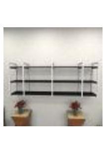 Estante Estilo Industrial Sala Aço Cor Branco 180X30X68Cm (C)X(L)X(A) Cor Mdf Preto Modelo Ind34Psl