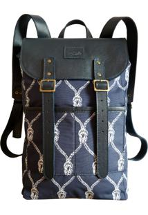 Mochila Line Store Leather Adventure Estampa Navy