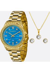Kit Relógio Feminino Strass Lince Lrgj059L Ku31D1K
